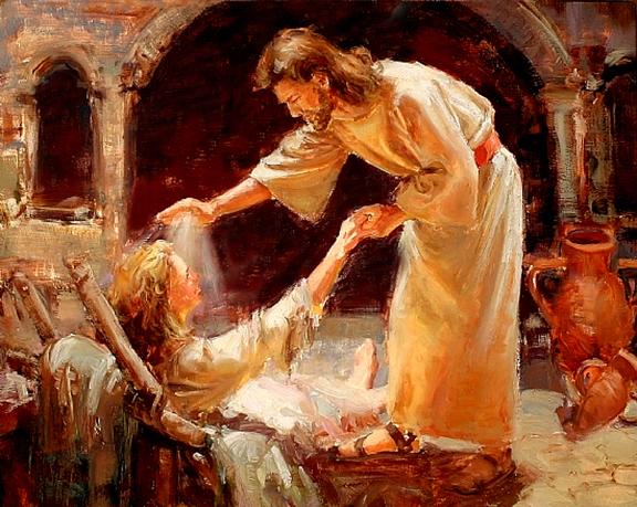 Jesus healing with Light