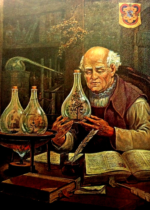 Alchemist with vials