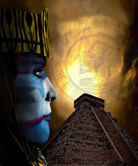 Mayan Elder & Pyramid