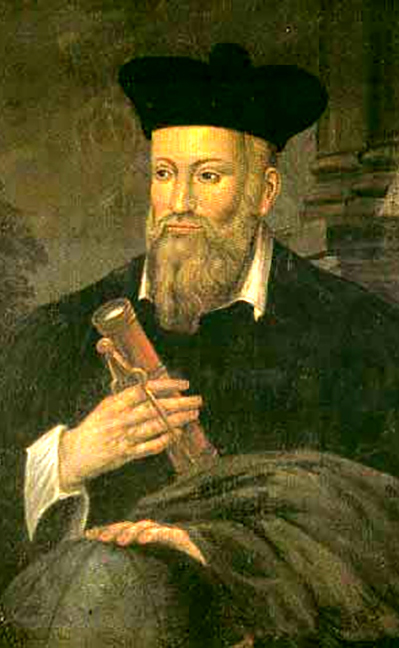 Nostradamus with scroll